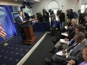 White House press secretary Jay Carney listens during his daily news briefing at the White House in Washington, Tuesday, May, 14, 2013.