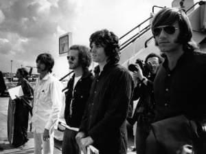 Ray Manzarek (far right) stands with fellow members of The Doors