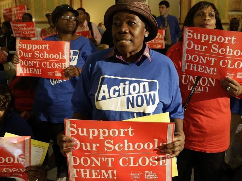 Protesters of Chicago Mayor Rahm Emmanuel's plan to close dozens of city schools
