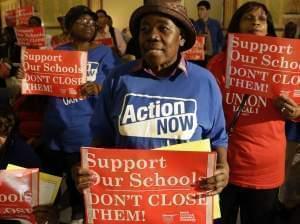 Protesters of Chicago Mayor Rahm Emmanuel's plan to close dozens of city schools