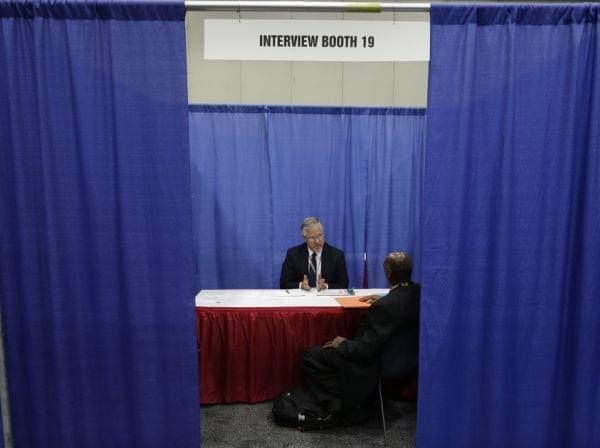a man being interviewed for a job