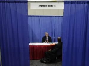 a man being interviewed for a job