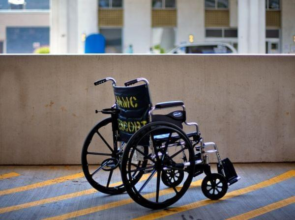 wheelchair outside V-A medical center