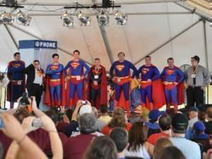 the judging stage at the Superman Costume Contest in Metropolis, IL