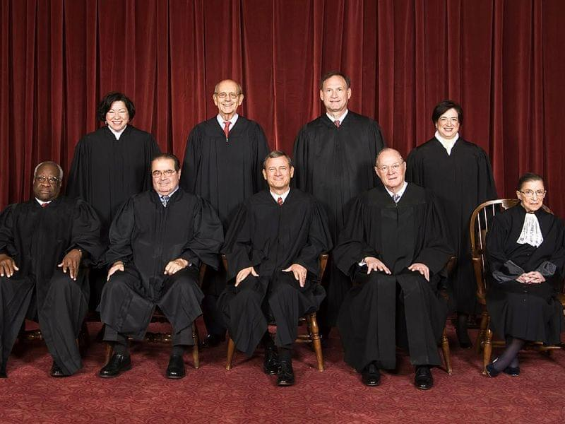 The United States Supreme Court justices. Top row (left to right): Associate Justice Sonia Sotomayor, Associate Justice Stephen G. Breyer, Associate Justice Samuel A. Alito, and Associate Justice Elena Kagan. Bottom row (left to right): Associate Jus