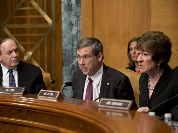 Sen. Mark Kirk, R-Ill., center, flanked by Sen. Susan Collins, R-Maine, right, and Sen. Richard Shelby, R-Ala.