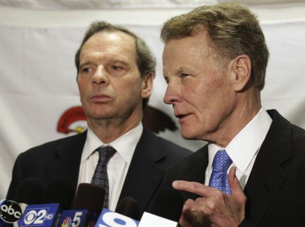 Illinois House Speaker Michael Madigan, with Senate President John Cullerton