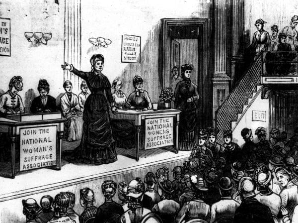 women meeting to rally the suffrage movement