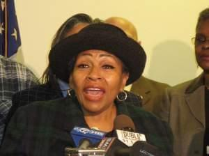 Former State Rep. Connie Howard (D-Chicago) speaks at a press conference in Chicago.