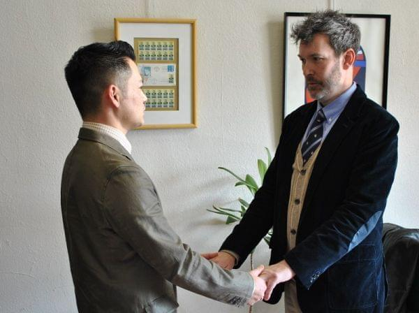 Aaron Smith and Toshi get married during a private ceremony on Nov. 30, 2012 in Iowa.