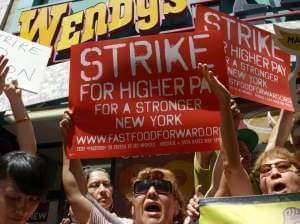 People calling for higher wages for fast-food workers.