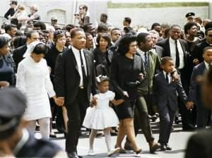 The family of slain civil rights leader Dr. Martin Luther King Jr., walk in the funeral procession in Atlanta, April 9, 1968.