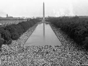 "Crowds gather in front of the Washington Monument during the ""March on Washington For Jobs and Freedom"" in 1963."