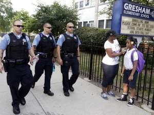 Chicago Police patrol a neighborhood