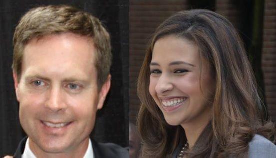 U.S. Rep. Rodney Davis (R-Taylorville) and Erika Harold (R-Urbana)
