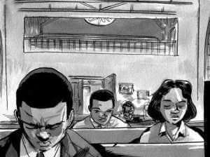 "A page from the comic book, ""March.""  It is a vivid first-hand account of Congressman John Lewis' lifelong struggle for civil and human rights."