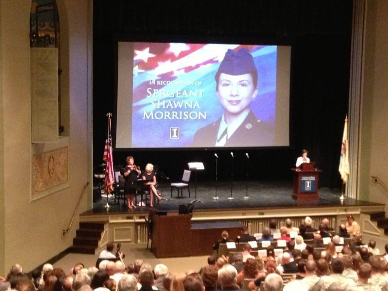 Phylis Wise, the chancellor at the University of Illinois at Urbana-Champaign, speaks on Sept. 8, 2013 during a ceremony honoring fallen soldier Shawna Morrison.