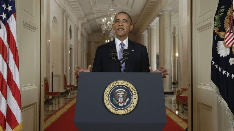 President Obama addresses the nation in a live televised speech from the East Room of the White House in Washington.
