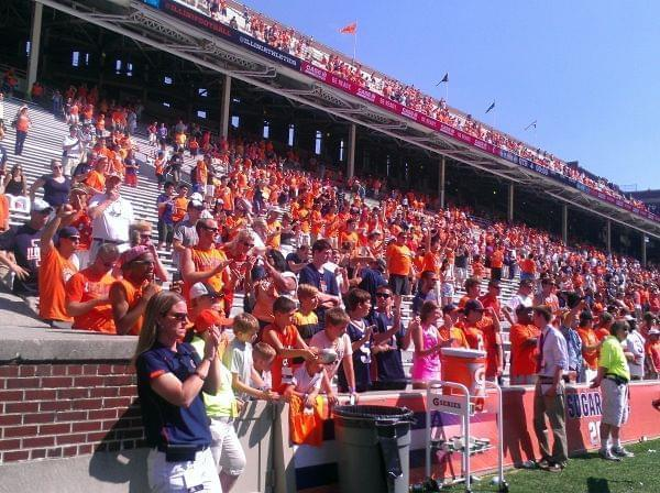 Illini Fans at Memorial Stadium celebrate after the September 7th  45-17 Illini victory over Cincinnati.