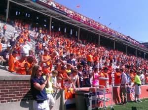 Illini Fans at Memorial Stadium celebrate after the September 7th  45-17 Illini victory over Cincinnati.