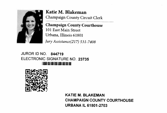 The front of the postal card that potential jurors in Champaign County will get. A QR code is displayed, which directs people to the website with the questionnaire.