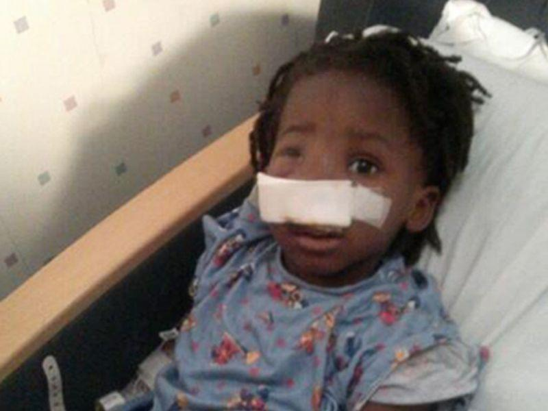 A family photo provided by the Rev. Corey Brooks shows 3-year-old Deonta Howard recovering from a gunshot wound Monday at Mount Sinai Hospital in Chicago.