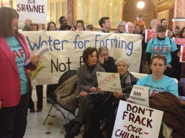 A coalition lobbying for a fracking moratorium protested Illinois' pending legislation during the 2013 General Assembly session.