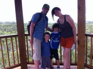 Micah, left, Asher, Daniel and Sara pose for a family photo while on summer vacation.