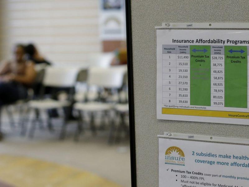 People wait to visit with volunteer counselors at Insure Central Texas on October 1 in Austin, Texas.