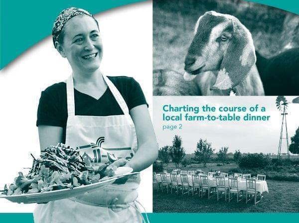Photo of chef delivery food on a tray; photo of goat head; photo of tables outside on a farm