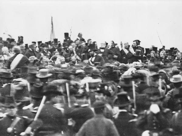 The only known photograph of President Lincoln giving his Gettysburg address on November 19, 1863.