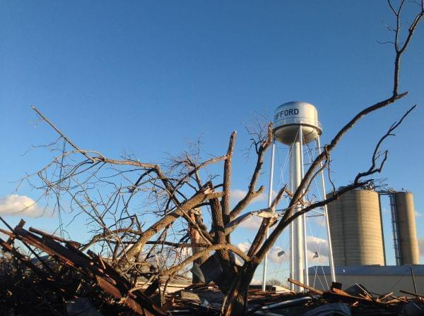 Damage from a tornado that struck Gifford, Ill. on Sunday, Nov. 18, 2013.