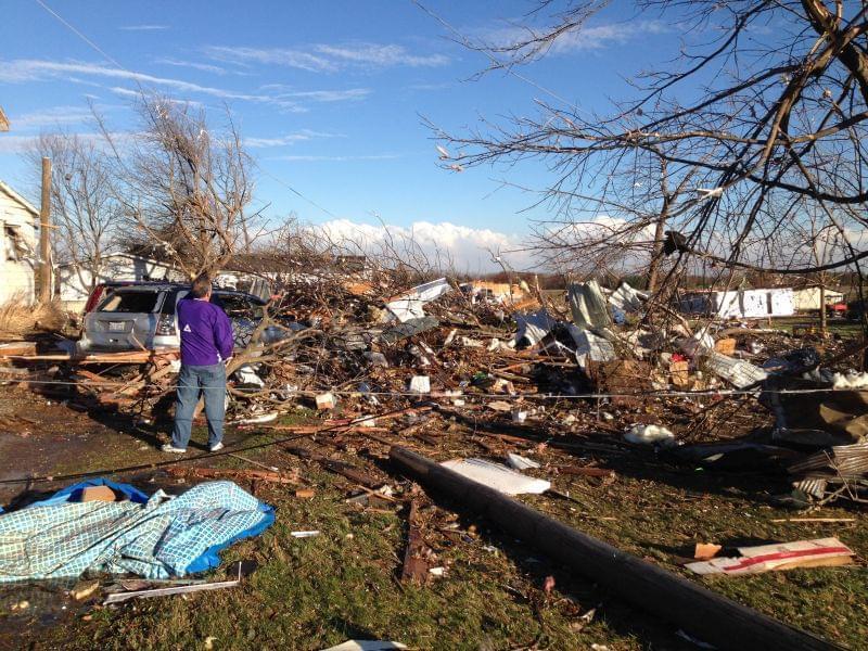 Damage from a tornado that struck Gifford, Ill. on Sunday, Nov. 17, 2013.
