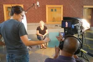 Production day with producer Lindsey Moon, videographer/editor Henry Radcliff and interviewee Heidi Apperson