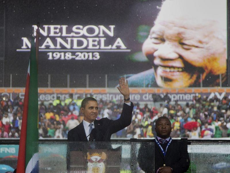 Barack Obama at  Nelson Mandela memorial