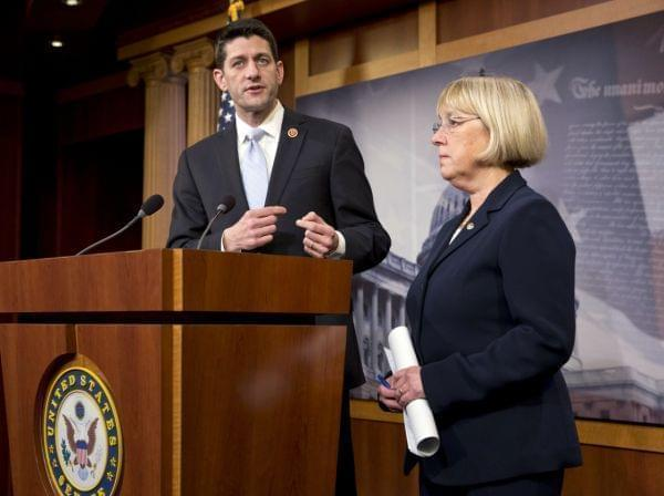 House Budget Committee Chairman Paul Ryan (R-Wis.) and Senate Budget Committee Chairwoman Patty Murray (D-Wash.), announce a proposed spending plan, at the Capitol in Washington, on Tuesday.