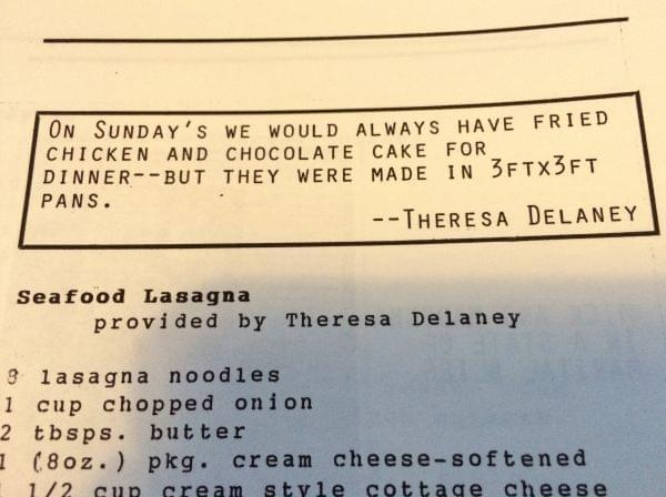A page from a homemade cookbook.