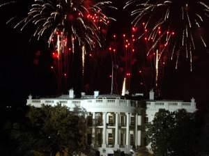 Washington, D.C. (Jan. 19, 2005) - Fireworks explode over the White House on the eve of President Bush's inauguration at the Ellipse in Washington D.C.