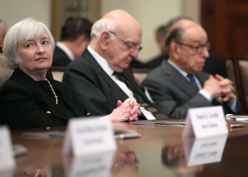 The Senate has approved Janet Yellen as the next head of the Federal Reserve. At a ceremony commemorating the Fed's centennial last month, Yellen sat with (from left-to-right) former chairmen Paul Volker and Alan Greenspan.