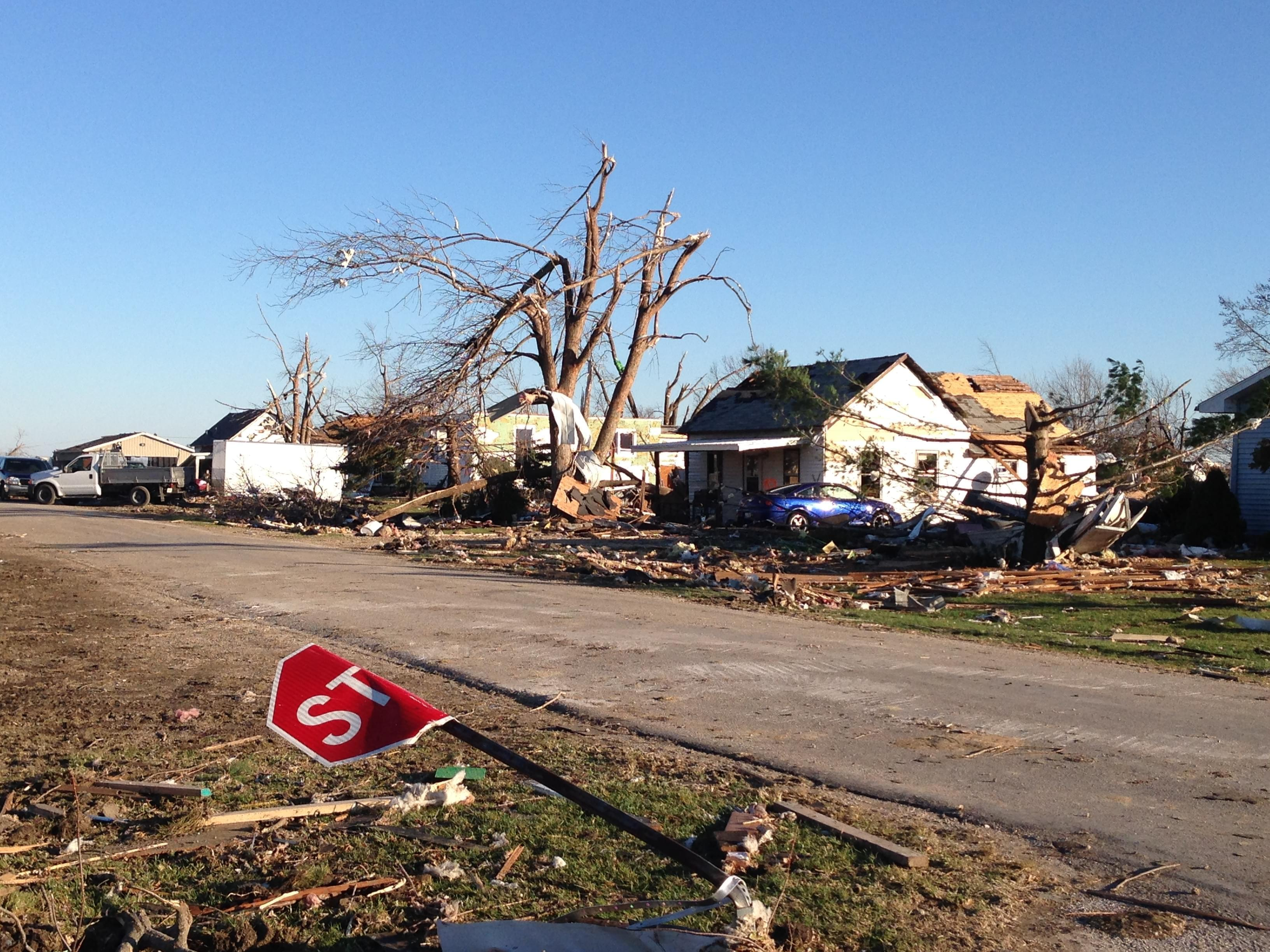 Damage caused by 2013 tornado in Gifford, Illinois.