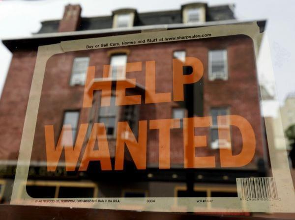 "Sign of the times? A ""help wanted"" sign in the window of a Philadelphia business last year."