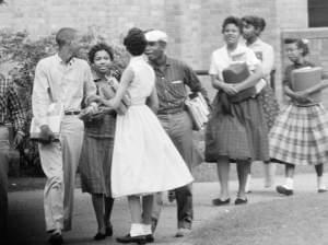 Eight of the nine black students who integrated into Central High School in Little Rock, Ark., are shown as they walked from school to their waiting Army station wagon on Oct. 2, 1957.