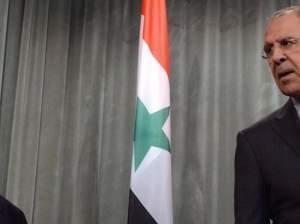 Syrian Foreign Minister Walid Muallem, Russian Foreign Minister Sergei Lavrov