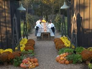 The table is set for at out door feast at P. Allen Smith's Gardens.