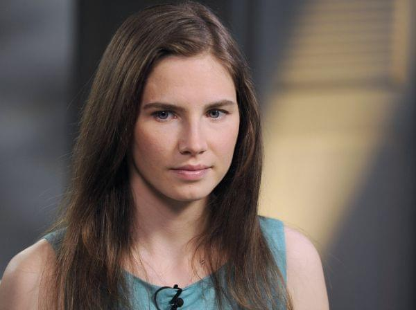 Amanda Knox speaking during a taped interview with ABC News' Diane Sawyer in New York in April.
