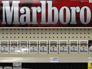 Marlboro cigarettes on display at a CVS store.