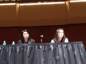 University of Illinois students Kimberly Arquines and Jennifer Sun attend a forum on digital hate and civil discourse on Feb. 6, 2014 on the U of I's Urbana campus. Arquines was one of the students who posted personal attacks on Twitter last mo
