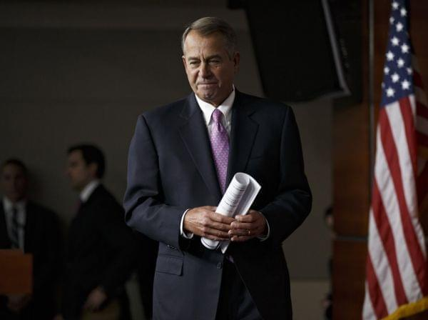 House Speaker John Boehner of Ohio arrives for a news conference on Capitol Hill in Washington, on Thursday.