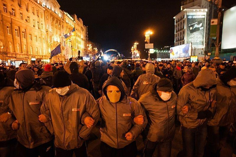 Protestors with demands of European values in Ukraine. November 26, 2013.