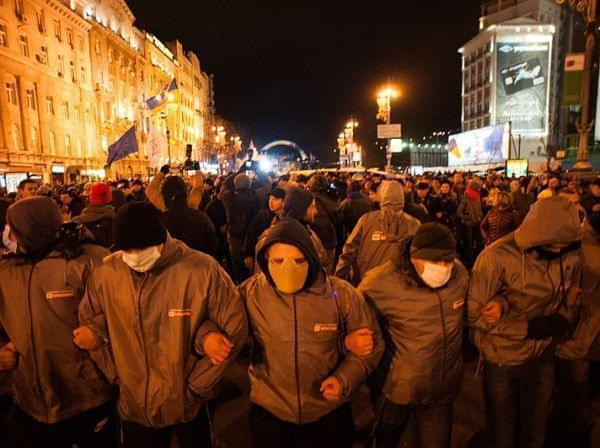 Protestors with demands of European values in Ukraine. November 26, 2013.